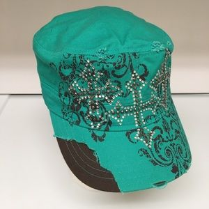 KBETHOS Cadet Style Cap Rhinestone Bling Cross Hat